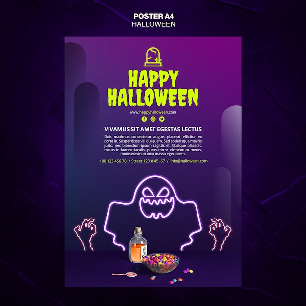 Halloween event ad template poster Free Psd
