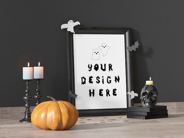 Halloween event decoration frame mockup with pumpkin and skull Premium Psd