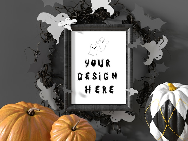 Halloween event decoration frame mockup with pumpkins and flying bats Premium Psd