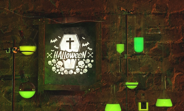 Halloween frame concept on stone background Free Psd