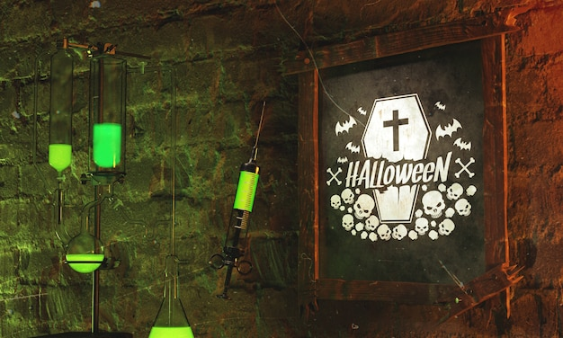 Halloween frame concept with green light Free Psd