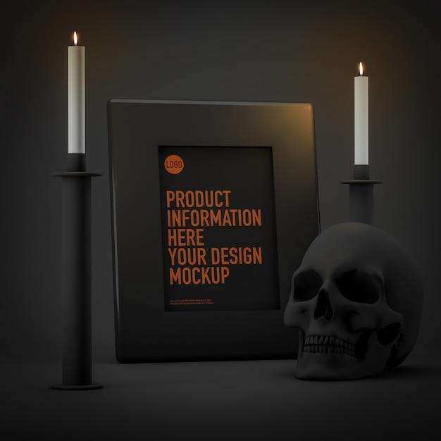 キャンドルと頭蓋骨の横にあるハロウィーンフレーム画像モックアップ Premium Psd
