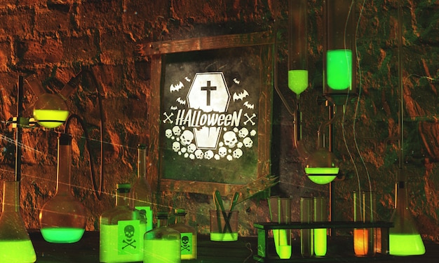 Halloween frame with green neon light on stone background Free Psd