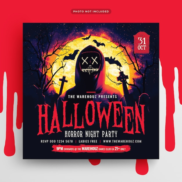 Halloween horror night party flyer social media post and web banner Premium Psd