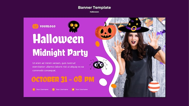 Halloween midnight party banner template Premium Psd