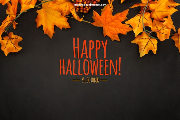 Halloween mockup with autumn leaves Free Psd