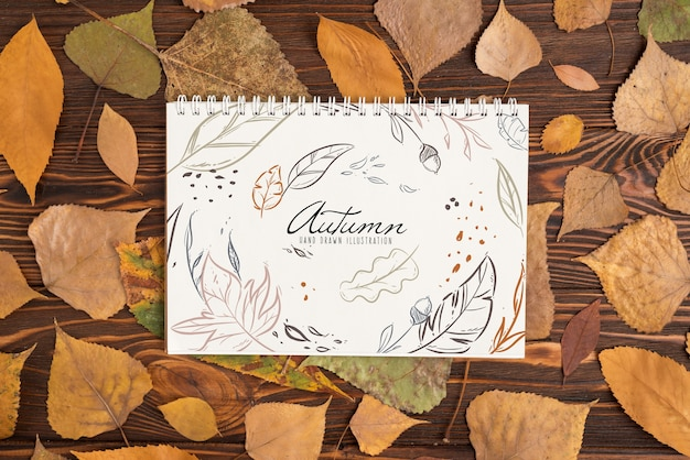 Halloween mockup with spiral notebook Free Psd
