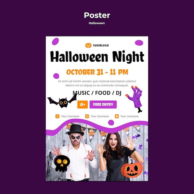 Halloween night poster template design Free Psd