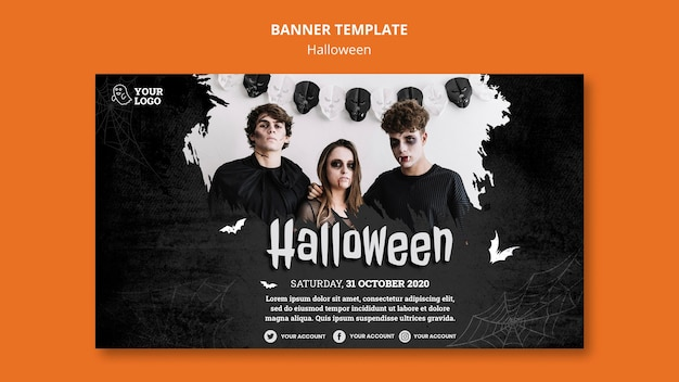 Halloween party banner template Free Psd