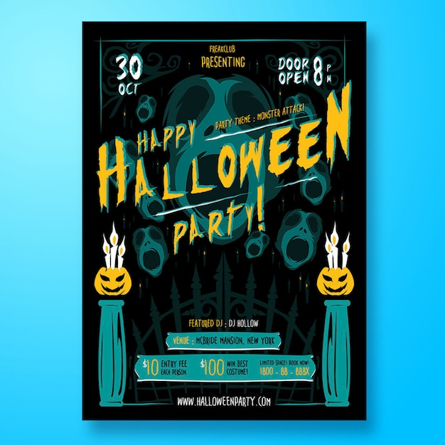 Halloween party flyer or poster Premium Psd