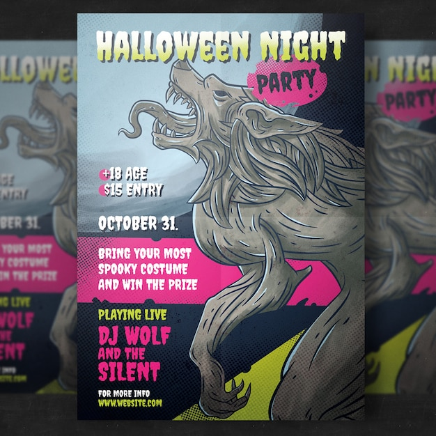 Halloween party flyer template Free Psd