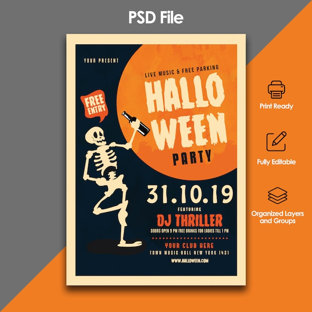 Halloween party flyer template Premium Psd