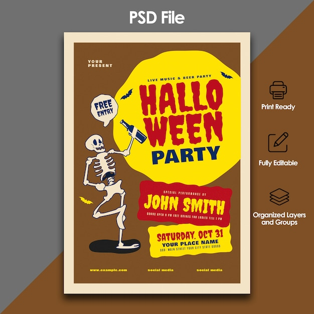 Halloween party flyer template Premium Psd