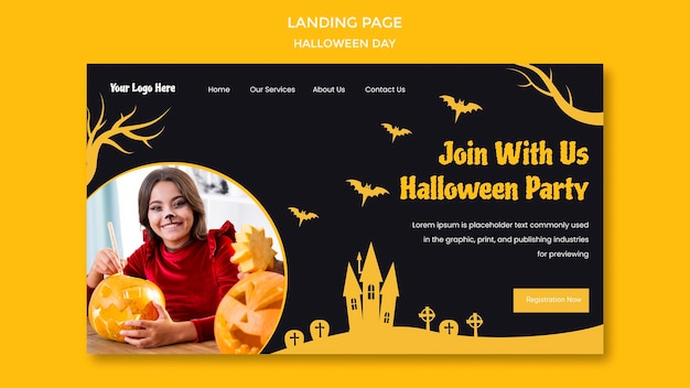 Halloween party landing page template Premium Psd
