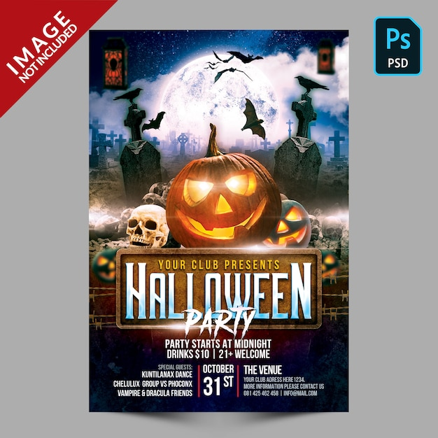 Halloween party poster template flyer Premium Psd