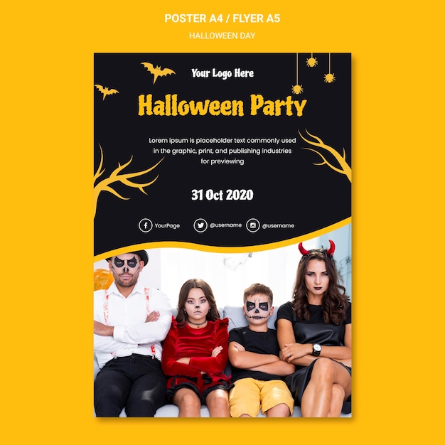 Halloween party poster template Free Psd