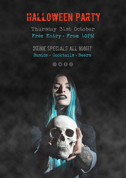 Halloween party special drinks poster Free Psd