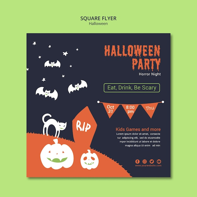 Halloween party square flyer with pumpkin Free Psd