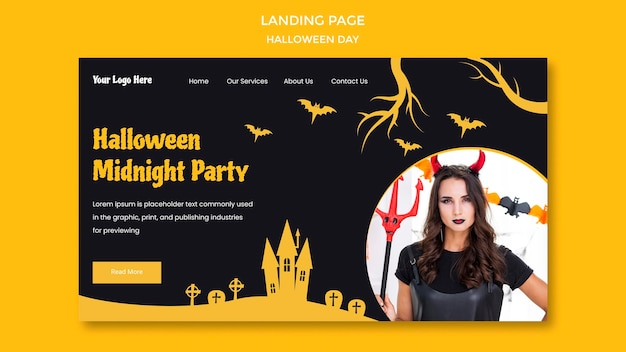 Halloween party template landing page Premium Psd