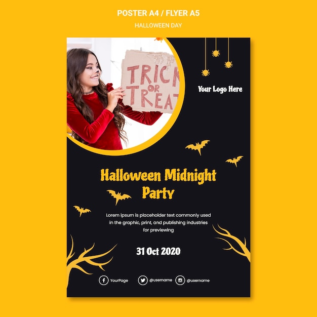 Halloween party template poster Free Psd