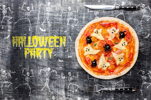 Halloween party with pizza treat Free Psd
