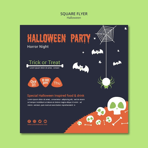 Halloween party with skulls and bones square flyer Free Psd