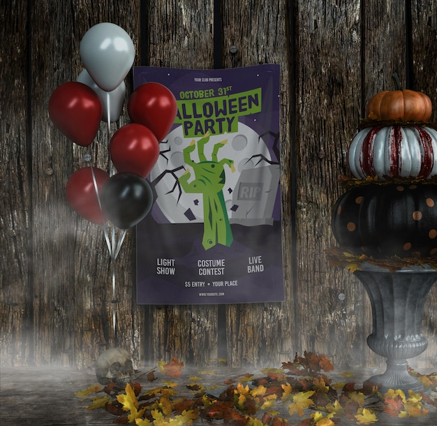 Halloween party zombie hand poster with balloons Free Psd