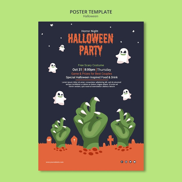 Halloween party on zombie poster template Free Psd
