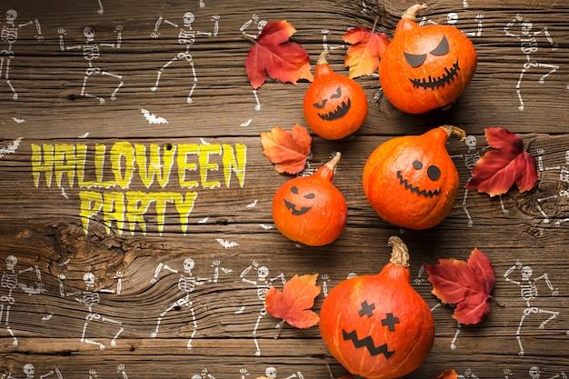 Halloween pumpkins decoration and skeleton draw Free Psd