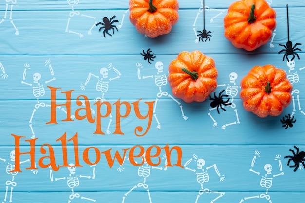 Halloween pumpkins and draw skeleton Free Psd