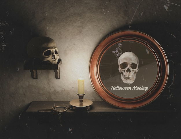 Halloween round frame with skull and gothic decor Free Psd