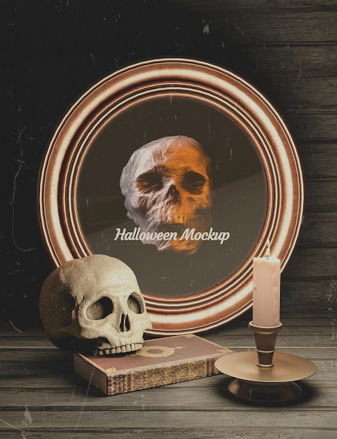 Halloween round frame with skull and gothic elements Free Psd
