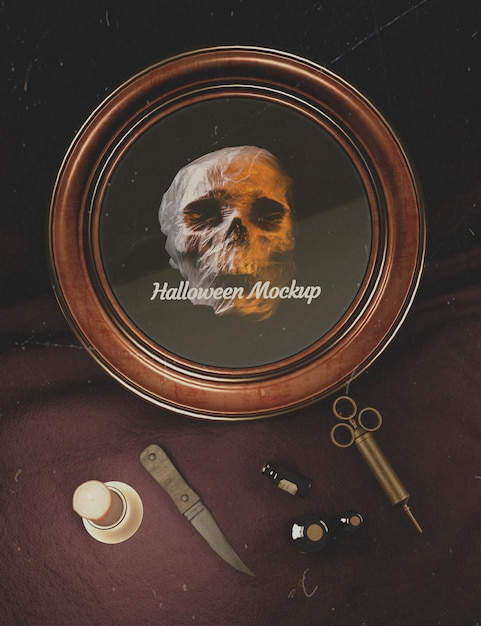 Halloween round frame with skull and old fashion medicine equipment Free Psd