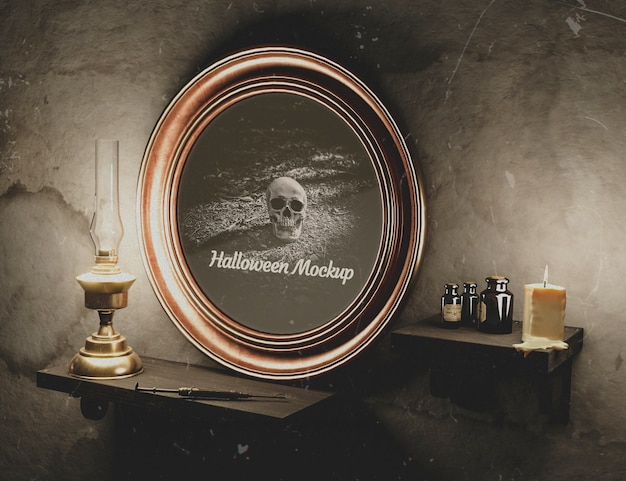 Halloween round frame with skull on a wall Free Psd
