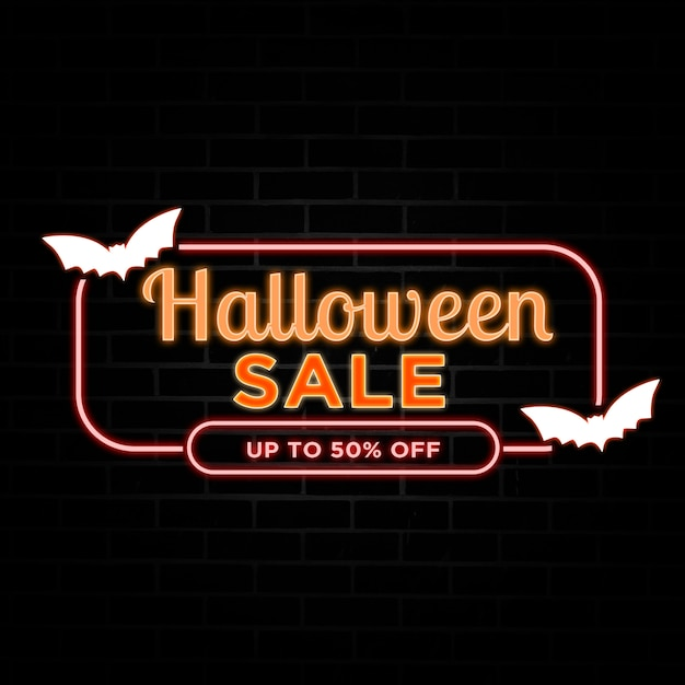Halloween sale discount with neon style. Premium Psd
