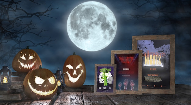 Halloween season arrangement with horror movie posters mock-up Free Psd