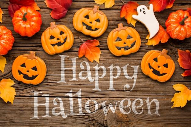 Halloween treats and pumpkins Free Psd