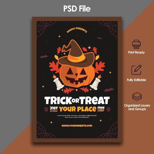 Halloween trick or treat flyer template Premium Psd
