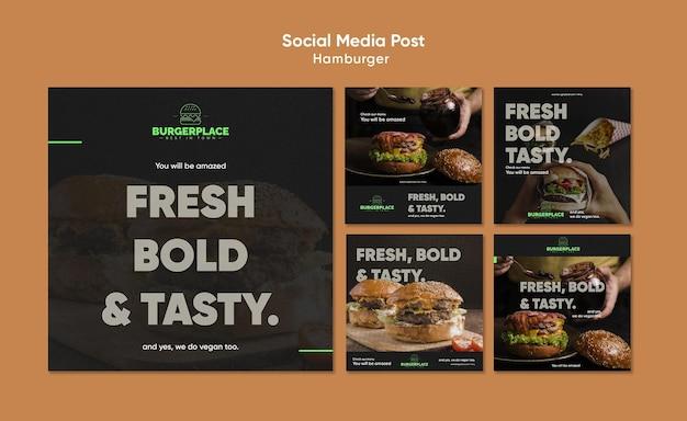 ハンバーガーレストランのソーシャルメディアの投稿テンプレート 無料 Psd