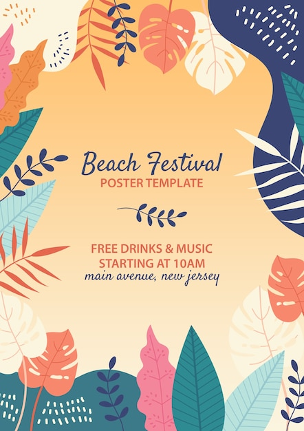 Hand drawn beach festival template Free Psd