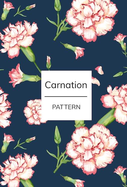 手描きのカーネーションパターンの背景 Premium Psd