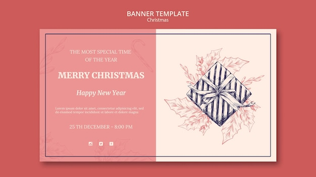 Ручной обращается рождественский баннер шаблон Бесплатные Psd
