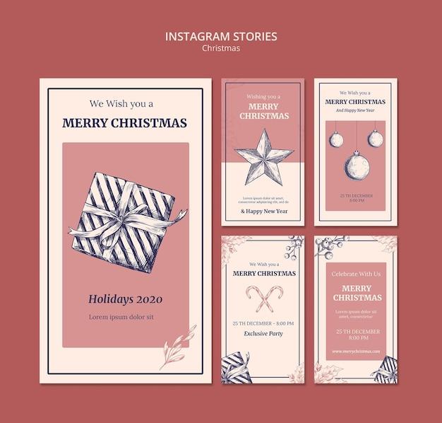 손으로 그린 크리스마스 Instagram 이야기 템플릿 프리미엄 PSD 파일