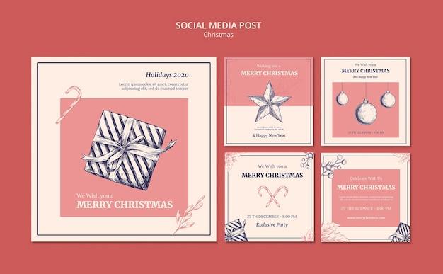 Ручной обращается рождественский шаблон сообщения в социальных сетях Бесплатные Psd