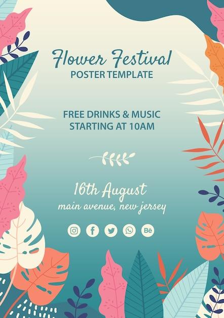 Hand drawn flower festival template Free Psd