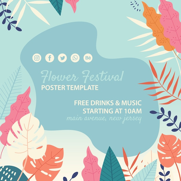 Hand drawn flower festival template Free Psd