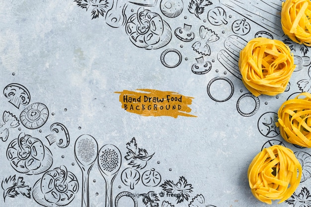 Hand drawn food background with pasta Free Psd