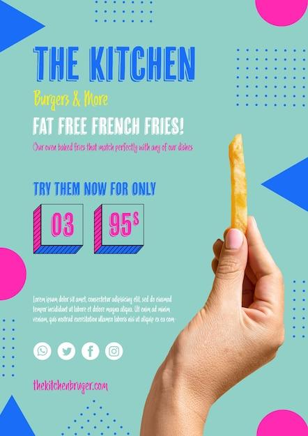 Рука держит американский французский фри Бесплатные Psd
