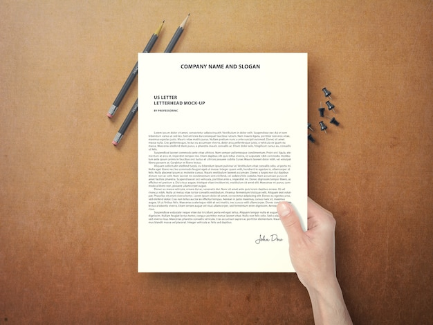 hand holding document mock up psd file