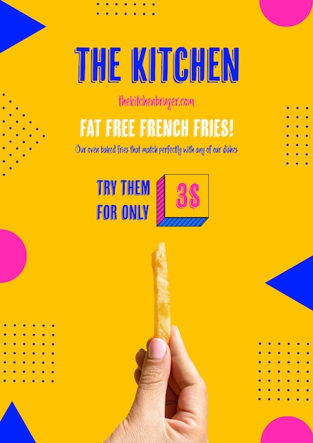 Hand holding french frie template Free Psd